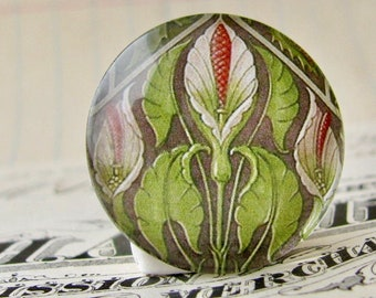 William Morris wallpaper collection - green lily cabochon, 25mm glass round cabochon, handmade in this shop, bottle cap 1 inch