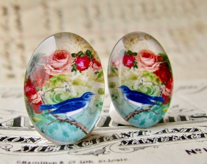 Mirrored pair of songbirds with pink roses, bluebirds for earrings, handmade glass cabochons, 25x18mm ovals, pink flowers, left right