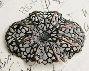 Rippled oval brass filigree - 35mm x 47mm - black antiqued brass, aged black patina, pierced ornament, wrap wrapping