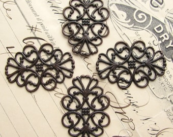"""Oval filigree ornaments, """"Ladies in Waiting"""" 34mm x 22mm (4 filigree) antiqued black brass, lacy filigree, lace, bendable wrap"""