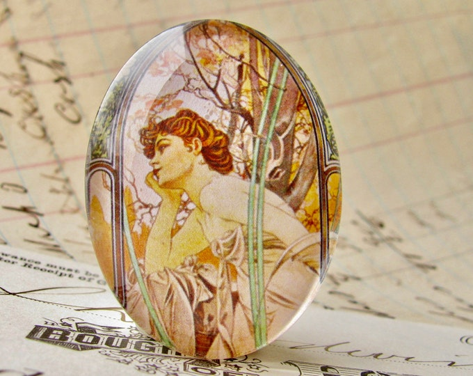 "From Alfons Mucha's ""Times of the Day"" series, evening contemplation, handmade 40x30 40x30mm glass oval cabochon, Art Nouveau,"