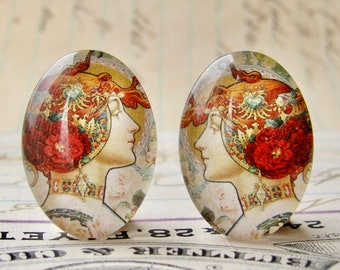 Art Nouveau vintage commercial illustration, handmade 25x18mm glass oval cabochon mirrored pair, left right opposites, Théophile Hingre