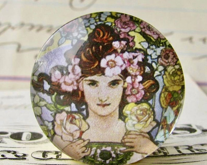 """From Alfons Mucha's """"Flowers"""" series: """"The Rose"""" handmade 25mm glass cabochon, Art Nouveau collection, art history, round inch bottle cap"""