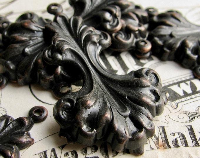 Sturdy 38mm chandelier drop for earrings, black antiqued brass, (4 black earring links) multi strand dangle, vintage style, large statement