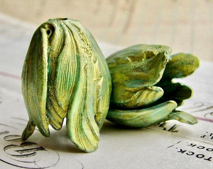 Green Tulip, Absinthe finish, brass flowers (2 bead caps) flourish petal, blooming trumpet flower, green patina with aqua highlights