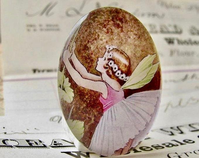 Fairy Dress, handmade glass oval cabochon, 40x30 30x40 40x30mm 30x40mm, pink, children's book illustration. Ida Rentoul Outhwaite