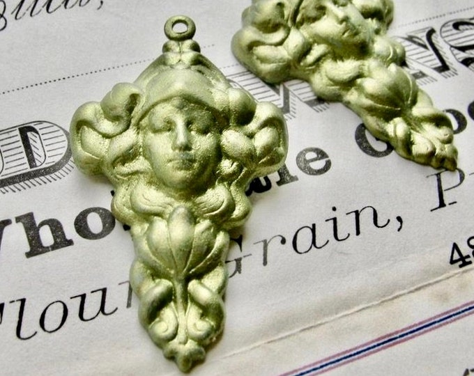 Absinthe finish (2 pendants) green patina, Persephone, Queen of the Underworld pendant, pure brass made in the USA