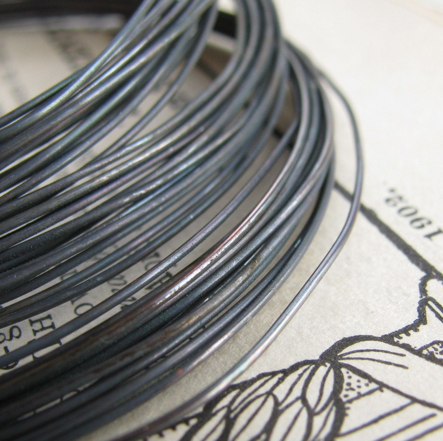 22 gauge black patina, hand antiqued wire, dead soft (10 foot coil ...