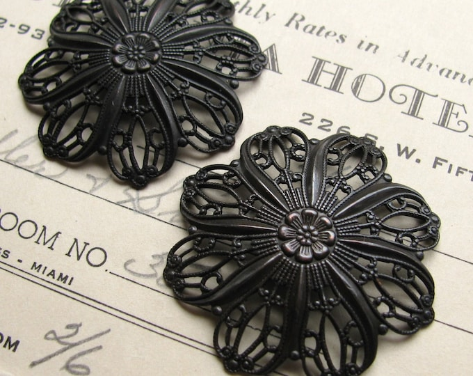 Tiffany style domed flower filigree ornament, 35mm, antiqued black brass (2 round flowers) Art Nouveau pendant backing, oxidized brass