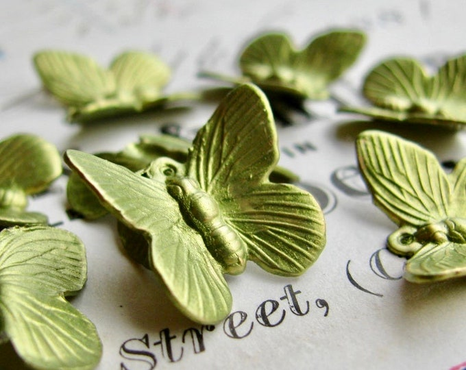 Butterfly charms, Absinthe finish (4) green patina, solid brass made in the USA, hand finished in the Fallen Angel Brass studios