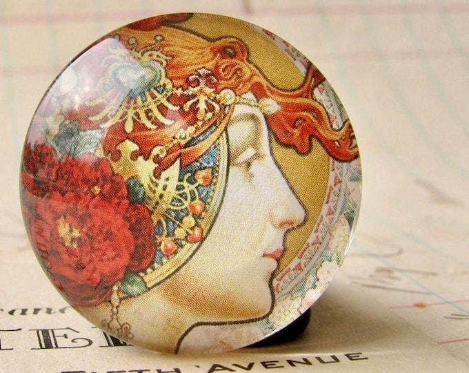 Art Nouveau vintage poster art, handmade 25mm round glass cabochon, bottle cap, inch circle, Louis Théophile Hingre, commercial illustration