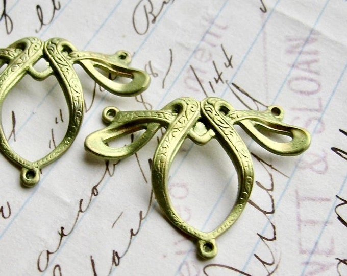 Absinthe finish, (2) green patina Art Nouveau ribbon necklace links, brass made in USA, hand finished in the Fallen Angel Brass studios