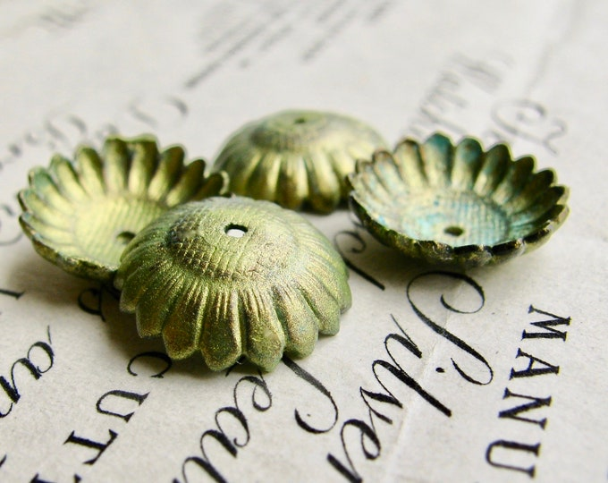 Absinthe finish, green patina with aqua highlights, 12mm Sunflower bead cap, brass (4 bead caps) made in the USA, lead nickel free