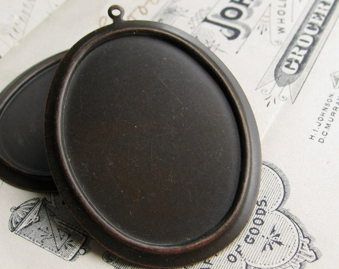 NEW! 40x30mm black brass frame setting for cabochons, oval pendant tray, antiqued brass (2  frames) 30x40mm  40mm 30mm