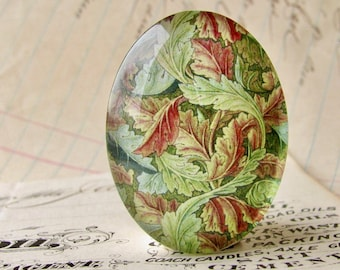 William Morris collection - green vines, 40x30mm or 25x18mm glass oval cabochon, wallpaper print, handmade in this shop