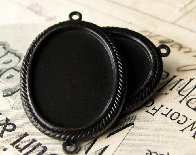 25x18mm rope edge oval cabochon frame link, (2 black antiqued brass settings) 18x25mm 25mm 18mm 25x18 18x25 pendant base tray