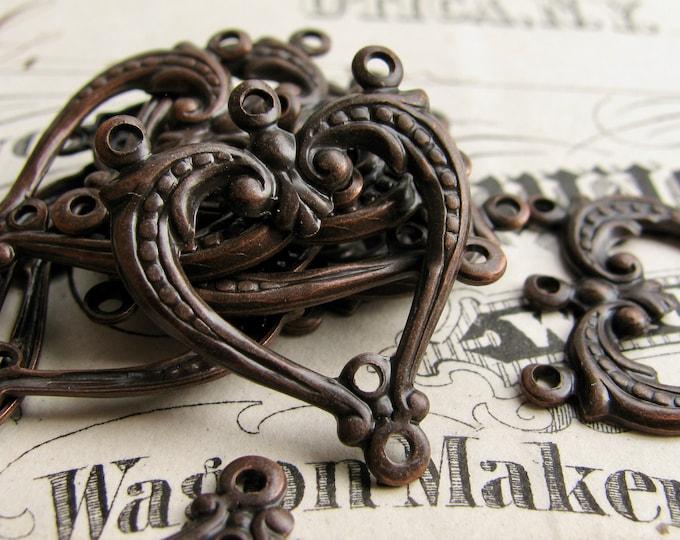 NEW! Heart shaped bracelet link or chandelier drop for earrings, black antiqued brass, (4 aged black earring links) multi strand dangle