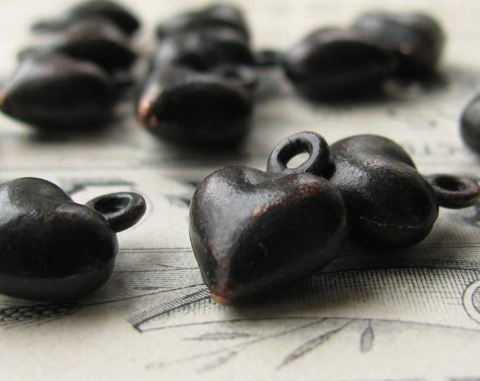 Tiny heart charm from Bad Girl Castings, black patina, cast pewter heart 10mm (4 black hearts) mini heart, puffed heart charm, puffy heart