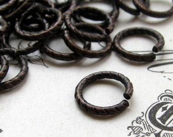9mm etched jump ring - black antiqued brass  (30 rings) 9mm jump ring, 18 gauge, black jumpring, brass jump ring, made in the USA