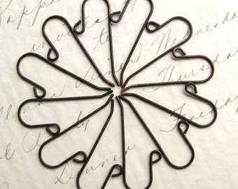 Long tail ear wires - 28mm - dark antiqued brass - (8 earwires) shephard shepherd hook, black earwigs, brass earring wires