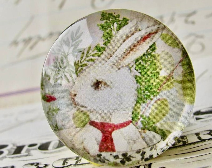 Bunny in a teacup, glass oval cabochon, 25mm, tea party, white rabbit, pink roses, green spring picnic, round 1 inch bottle cap size