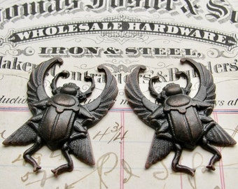 Egyptian scarab beetle pair with wings, black antiqued brass, 35mm, black patina, black Art Deco, large, noir patina, ancient history