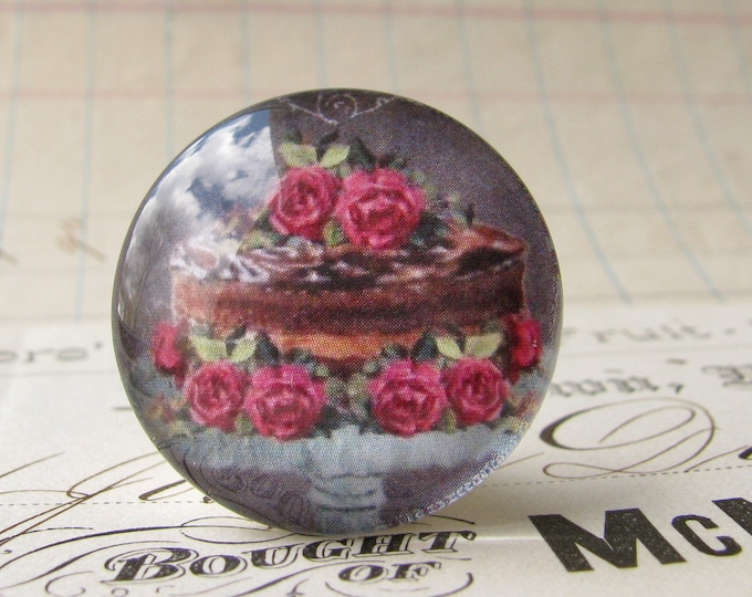 Chocolate cake with pink roses, handmade glass cabochon, round 25mm cabochon, 1 inch circle, Bountiful Bakery collection, bottle cap size
