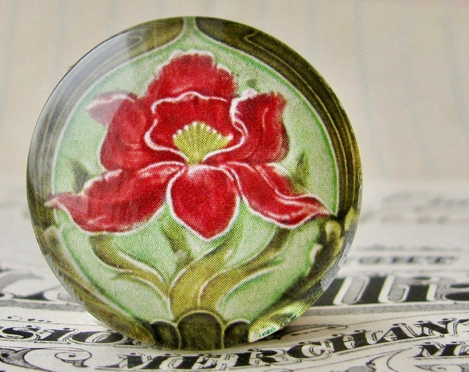 """From the """"Art Nouveau Ceramic Tiles"""" series, 25mm round glass cabochon, Jugendstile, handmade, bottle cap, inch circle, red iris flower"""