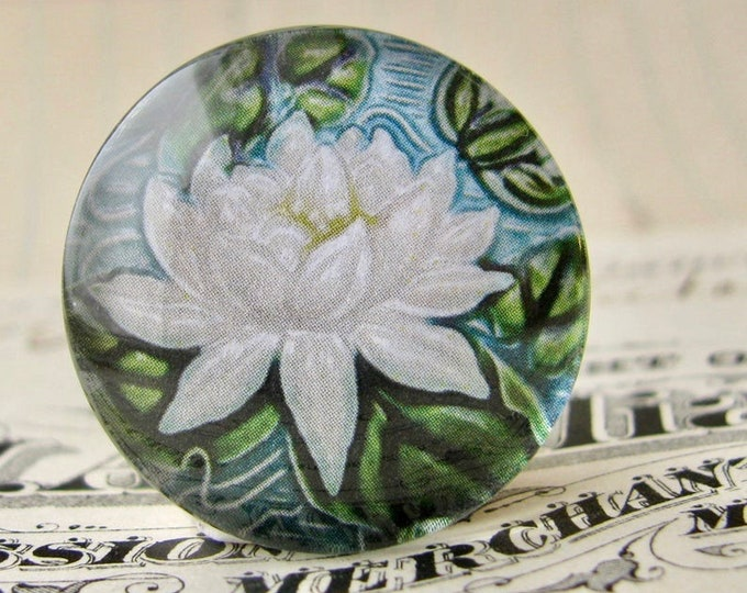 """NEW! From the """"Art Nouveau Ceramic Tiles"""" series, 25mm round glass cabochon, handmade, bottle cap, inch circle, white water lily flower"""