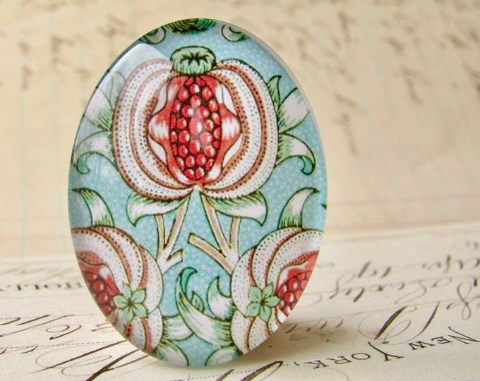 William Morris collection - pomegranate, 40x30mm or 25x18mm glass oval cabochon, wallpaper print, handmade in this shop, Art Nouveau