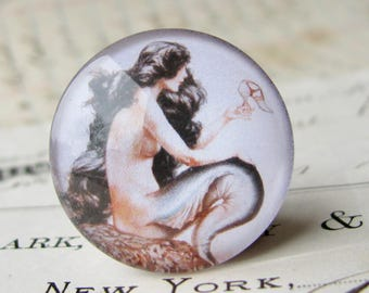 Mermaid holding a shoe, wishing for legs, long black hair, 25mm round glass cabochon, 1 inch circle, bottle cap, Magical Maidens collection