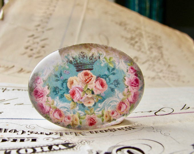 Horizontal 25x18mm glass oval cabochon, pink Victorian roses, aqua blue, flower, handmade in this shop, Fabulous Floral collection, romantic