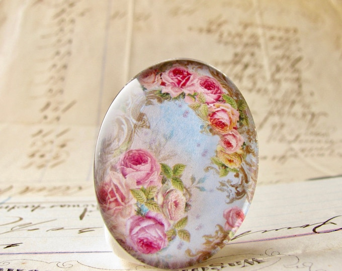 Fabulous Floral collection, 25x18mm or 40x30mm glass oval cabochon, pink roses on a blue sky, handmade in this shop, romantic, feminine