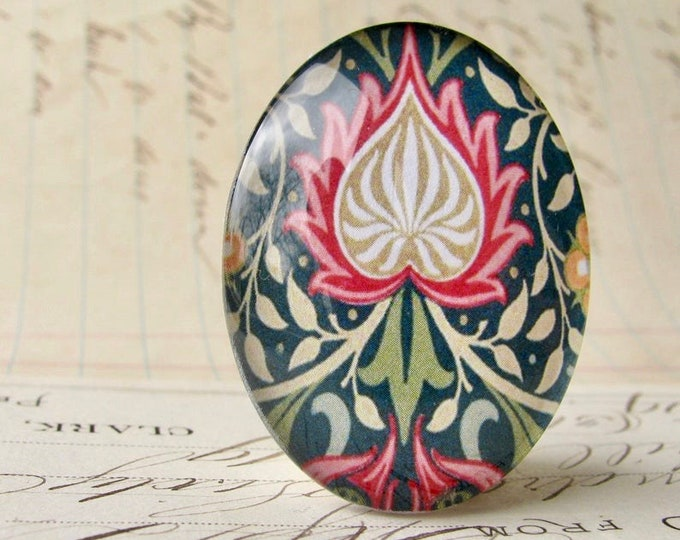 William Morris collection - red flame, 40x30mm or 25x18mm glass oval cabochon, wallpaper print, handmade in this shop, Art Nouveau