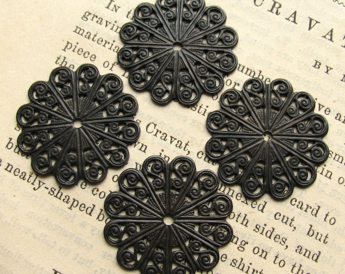 22mm scalloped edge round filigree, antiqued brass, black filigree (4 medallions) center hole, circle coin shape, lead nickel free