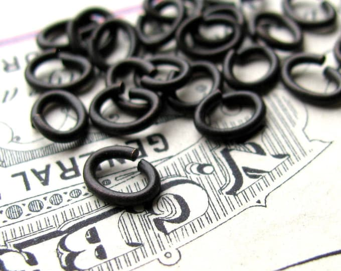 5x6mm oval jump ring, black antiqued brass (50 rings) 6x5mm aged patina, lead nickel free, made in the USA, black oval jumpring