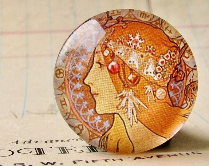 "Mucha's  ""Zodiac"" print, Zodiaque, 1896, handmade 25mm round glass cabochon, bottle cap, 1 inch circle, Art Nouveau"