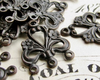 Flower and swirl 17mm chandelier drop for earrings or bracelet link, black antiqued brass, (4 aged black links) multi strand dangle
