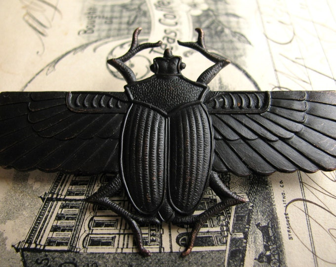 Egyptian scarab beetle with wings, dark antiqued brass, 70mm, black patina, Art Deco, giant, large, huge, noir patina - OR-FF-013