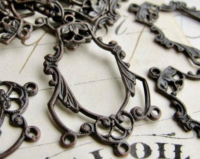 Delicate 27mm chandelier drop for earrings, black antiqued brass, (4 aged black earring links) multi strand dangle, vintage style