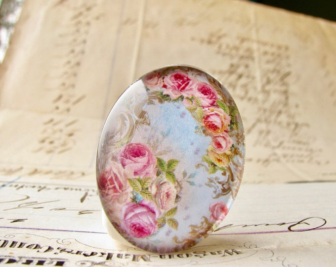 25x18mm glass oval cabochon, pink roses on a blue sky, handmade in this shop, Fabulous Floral collection, romantic, feminine, flowery