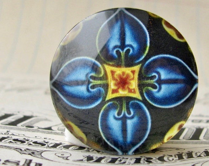 """NEW! From the """"Art Nouveau Ceramic Tiles"""" series, 25mm round glass cabochon, Jugendstile, handmade, bottle cap, 1 inch circle, blue flower"""