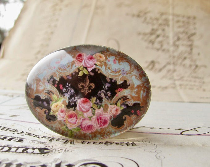 Horizontal 25x18mm glass oval cabochon, pink Victorian roses on black, handmade in this shop, Fabulous Floral collection, romantic flowers