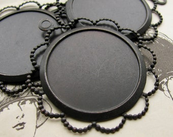 25mm round frame, black antiqued brass (4 brass pendant trays) setting, lace flowered edge, frame for cabochons, use with a bezel