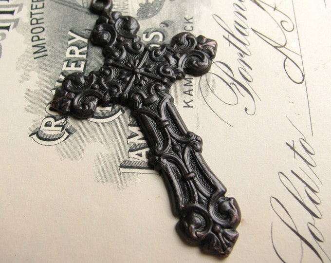 Victorian Mourning black cross pendant, large rosary cross, aged oxidized patina, solid antiqued black brass, Gothic image, pure brass  SV
