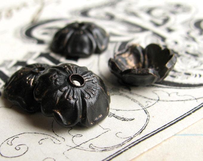 10mm Sakura flower black brass bead cap (4 bead caps) black bead cap, cherry blossom, made in the USA, lead nickel free