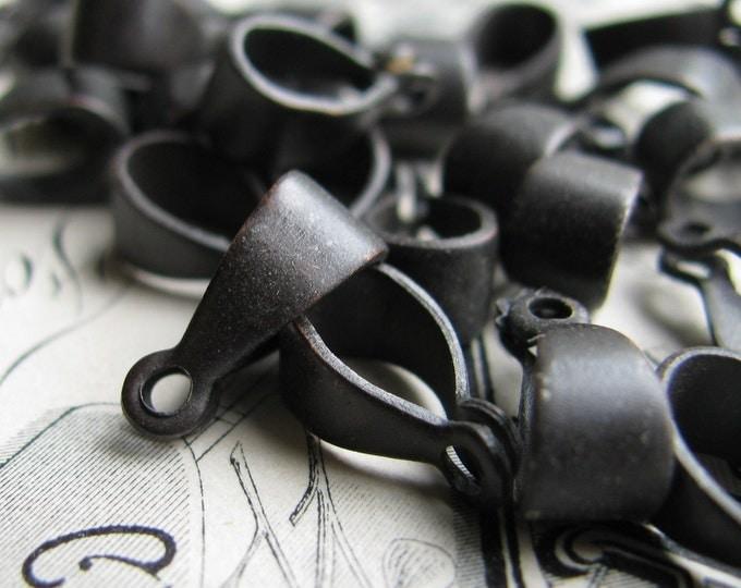 12mm folded black rivet bail, black antiqued brass (6 bails) smooth plain simple, pendant connector, pendant holder, necklace finding