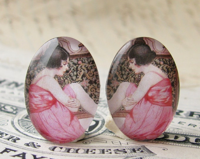 1920s vintage stocking ad, 25x18mm glass oval cabochons, mirrored pair, opposites, flapper era, Jazz fashion, commercial illustration