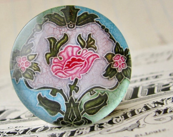 """From the """"Art Nouveau Ceramic Tiles"""" series, 25mm round glass cabochon, Jugendstile, handmade, bottle cap, 1 inch circle, pink flower"""