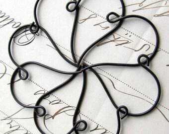 Round ear wire earring findings - 27mm, antiqued brass ear wires (8 black earwires) aged black patina, earring hook, black ear wires